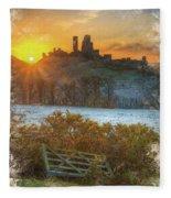 Sunrise Over Corfe Fleece Blanket