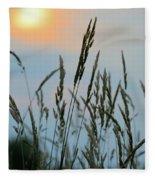 Sunrise Over Grass Fleece Blanket