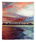 Sunrise Over Indian Lake Fleece Blanket