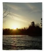 Sunrise Over Mississippi River Fleece Blanket
