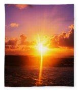 Sunrise Over Ocean, Sandy Beach Park Fleece Blanket