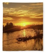 Sunrise Over  Payette River Fleece Blanket