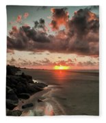 Sunrise Over The Beach Fleece Blanket