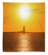 Sunrise Over Whaleback Light Portsmouth Nh New Hampshire Fleece Blanket
