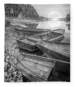 Sunrise Rowboats  In Black And White Fleece Blanket