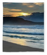 Sunrise Seascape With Headland And Clouds Fleece Blanket