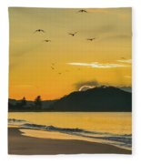 Sunrise Seascape With Mountain And Birds Fleece Blanket