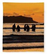 Sunrise Seascape With People Silhouettes Fleece Blanket