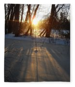 Sunrise Shadows On Ice Fleece Blanket