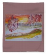 Sunrise Surreal Modern Landscape Painting Fine Art Poster Print Fleece Blanket