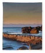 Sunrise, The Sea And Tessellated Rock Platform Fleece Blanket
