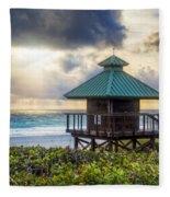 Sunrise Tower At The Beach Fleece Blanket