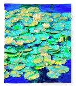 Sunrise Waterlilies Fleece Blanket