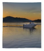Sunrise Waterscape And Boat On The Bay Fleece Blanket