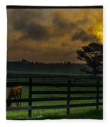 Sunrise With Horses Fleece Blanket