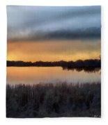 Sunrise On A Frosty Marsh Fleece Blanket