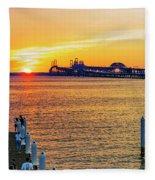 Sunset Across The Chesapeake Fleece Blanket
