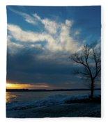 Sunset Along The Mississippi River Fleece Blanket