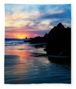 Sunset And Clouds Over Crescent Beach Fleece Blanket