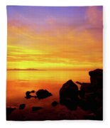 Sunset And Fire Fleece Blanket