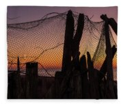 Sunset And Fishing Net Cape May New Jersey Fleece Blanket