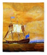 Sunset And Ships Fleece Blanket