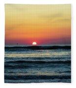 Sunset And Waves Fleece Blanket