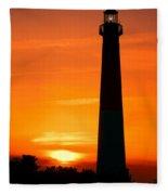 Sunset At Barnegat Lighthouse Fleece Blanket