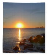 Sunset At Cape May Beach Fleece Blanket