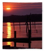 Sunset At Colonial Beach Fleece Blanket