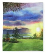 Sunset At Columbia River State Of Washington Fleece Blanket