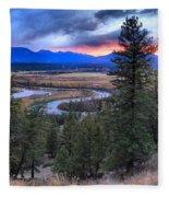 Sunset At Columbia Wetlands Fleece Blanket