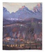 Sunset At Dolomites Belluno Fleece Blanket