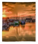 Sunset At Fisherman's Cove Fleece Blanket