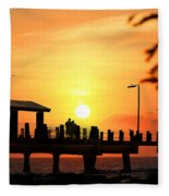 Sunset At Fort De Soto Fishing Pier Pinellas County Park St. Petersburg Florida Fleece Blanket