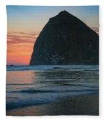 Sunset At Haystack Rock Fleece Blanket