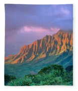 Sunset At Kalalau Lookout Fleece Blanket