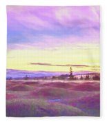 Sunset At Mima Mounds Fleece Blanket