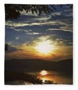 Sunset At Multnomah Falls Fleece Blanket
