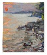 Sunset At Niagara River Fleece Blanket