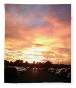 Sunset At Parking Lot Fleece Blanket