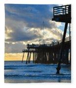 Sunset At Pismo Pier Fleece Blanket