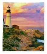 Sunset At Portland Head Fleece Blanket
