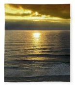 Sunset At Praia Pequena, Small Beach In Sintra Portugal Fleece Blanket