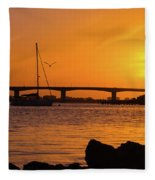 Sunset At Sarasota Bayfront Park Fleece Blanket