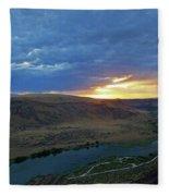 Sunset At Snake River Canyon 1 Fleece Blanket
