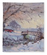 Sunset At Snow-covered Niawanda Park Fleece Blanket