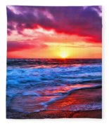 Sunset At Strands Beach Fleece Blanket