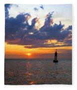Sunset At The Bell Buoy Fleece Blanket