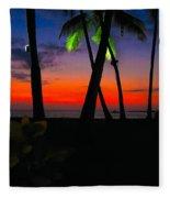 Sunset At The Big Island Of Hawaii Fleece Blanket